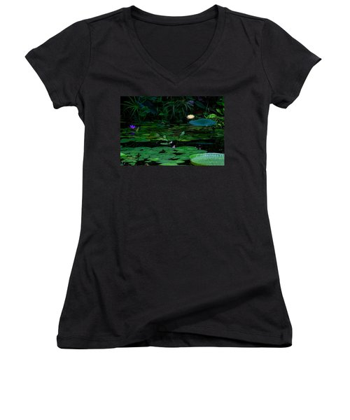 Water Lilies In The Pond Women's V-Neck