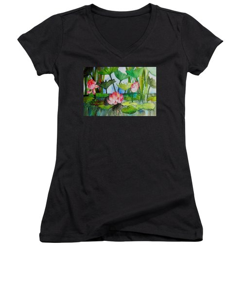 Water Lillies Two Women's V-Neck T-Shirt