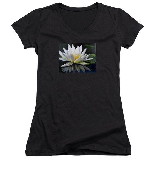 Water Lilly  Women's V-Neck T-Shirt (Junior Cut) by Katia Aho