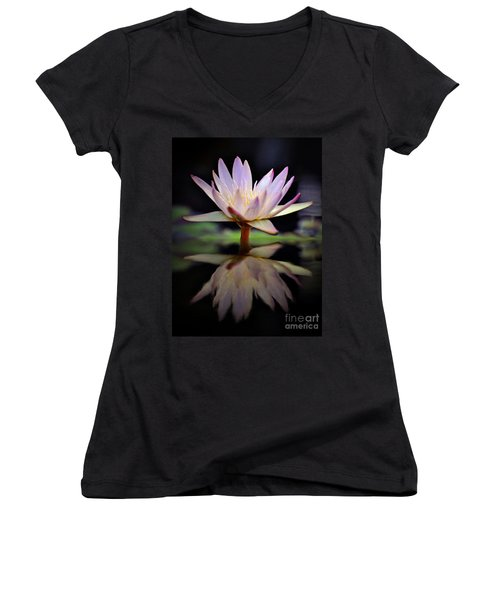 Women's V-Neck T-Shirt (Junior Cut) featuring the photograph Water Lily by Savannah Gibbs