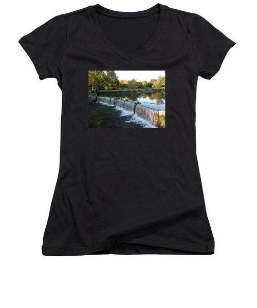 Water Over The Dam Women's V-Neck T-Shirt (Junior Cut) by Joel Deutsch