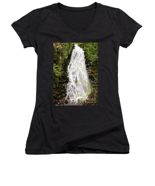 Water Roaring Down Cascade Falls, Farmington, Maine  -30377 Women's V-Neck