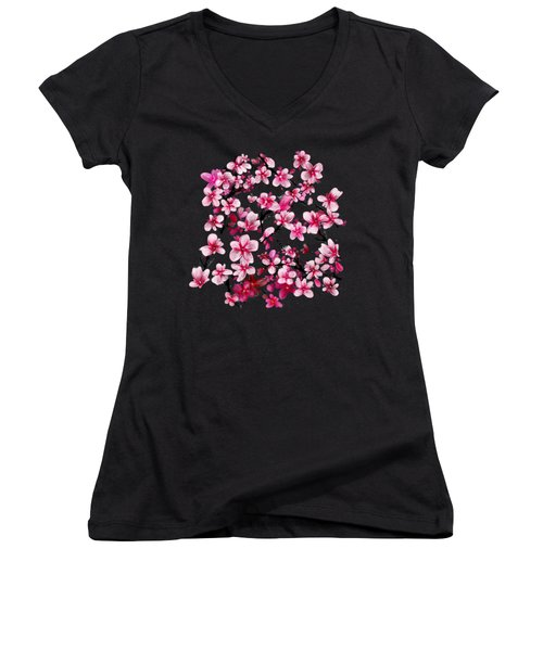 Watercolor Blossoms Women's V-Neck (Athletic Fit)