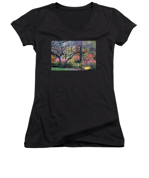 Watercolor Forest Women's V-Neck (Athletic Fit)