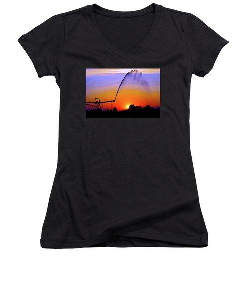 Watercolor Irrigation Sunset 3243 W_2 Women's V-Neck T-Shirt