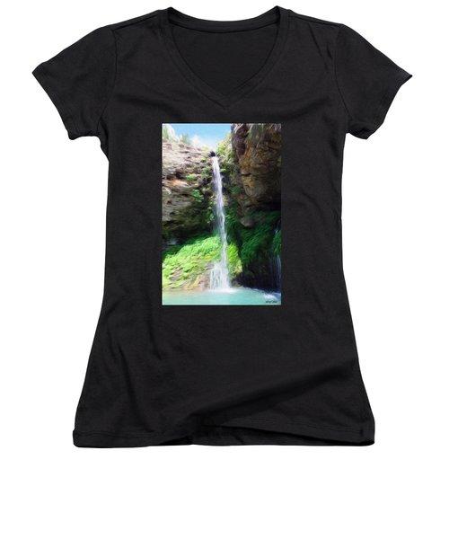 Waterfall 2 Women's V-Neck T-Shirt (Junior Cut) by Jeff Kolker