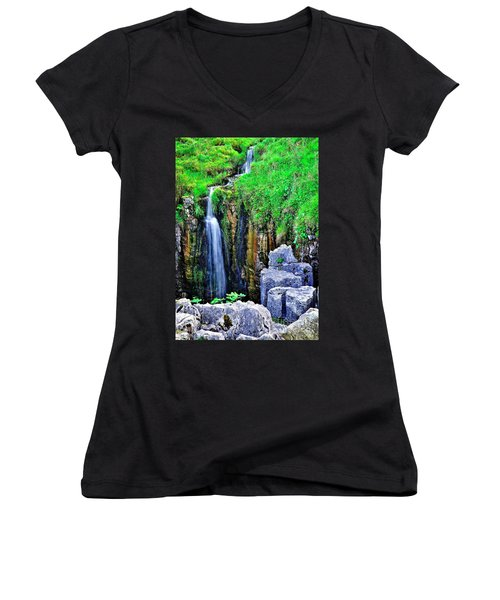 Waterfall At The Buttertubs, Swaledale Women's V-Neck