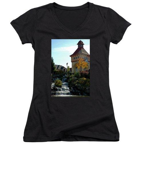 Women's V-Neck T-Shirt (Junior Cut) featuring the photograph Waterfall Frankenmuth Mich by LeeAnn McLaneGoetz McLaneGoetzStudioLLCcom
