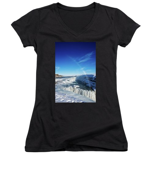 Waterfall Gullfoss In Winter Iceland Europe Women's V-Neck T-Shirt (Junior Cut) by Matthias Hauser