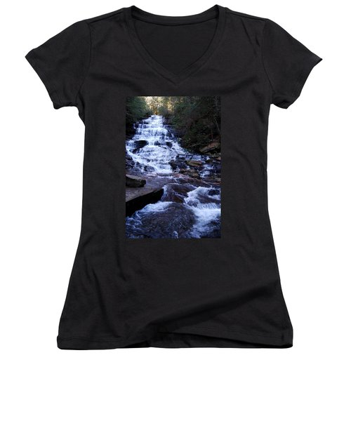 Waterfall In Georgia Women's V-Neck T-Shirt (Junior Cut) by Angela Murray
