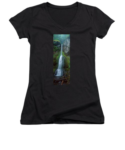 Waterfall In Olympic National Rainforest Women's V-Neck T-Shirt (Junior Cut) by Panoramic Images