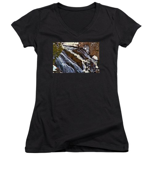 Waterfall In Yellowstone Women's V-Neck T-Shirt (Junior Cut) by C Sitton