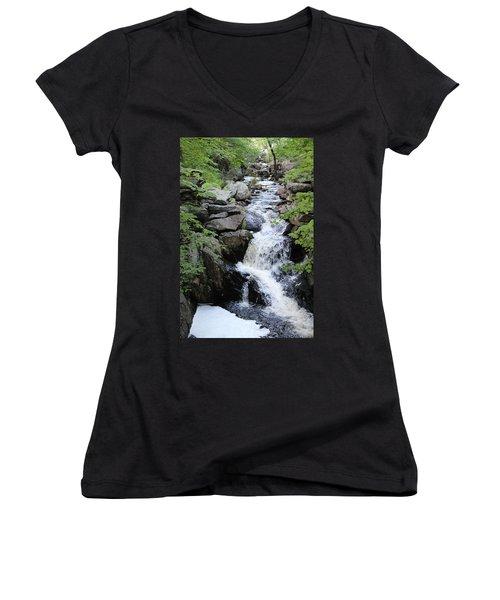 Waterfall Pillsbury State Park Women's V-Neck