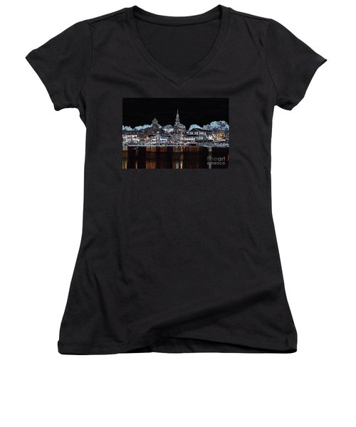 Waterfront Etching Women's V-Neck (Athletic Fit)