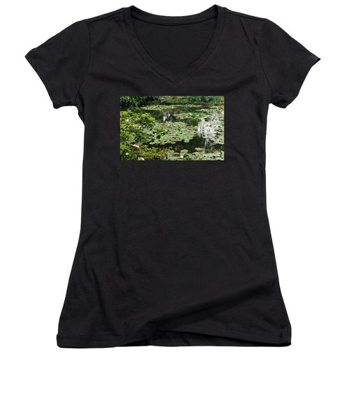 Women's V-Neck T-Shirt (Junior Cut) featuring the photograph Waterlilies At Monet's Gardens Giverny by Therese Alcorn