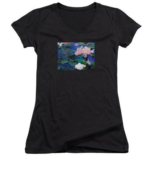 Waterlilies Six Women's V-Neck T-Shirt (Junior Cut) by David Klaboe