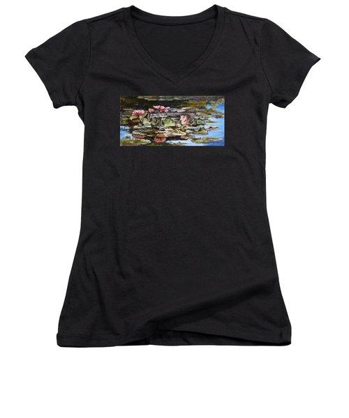 Waterlilies Tower Grove Park Women's V-Neck T-Shirt (Junior Cut) by Irek Szelag