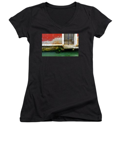 Water's Edge In Venice Women's V-Neck T-Shirt