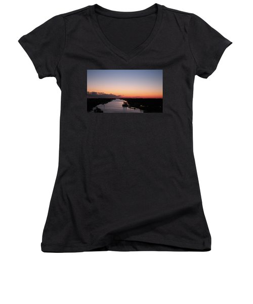 Waterway Sunset #1 Women's V-Neck T-Shirt (Junior Cut)