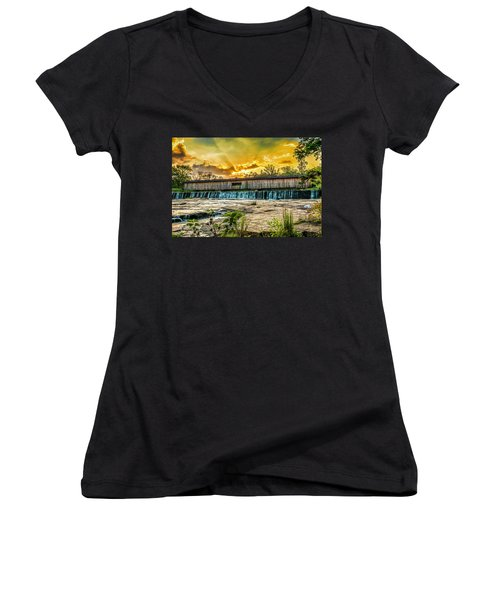 Women's V-Neck featuring the photograph Watson Mill Covered Bridge by Michael Sussman