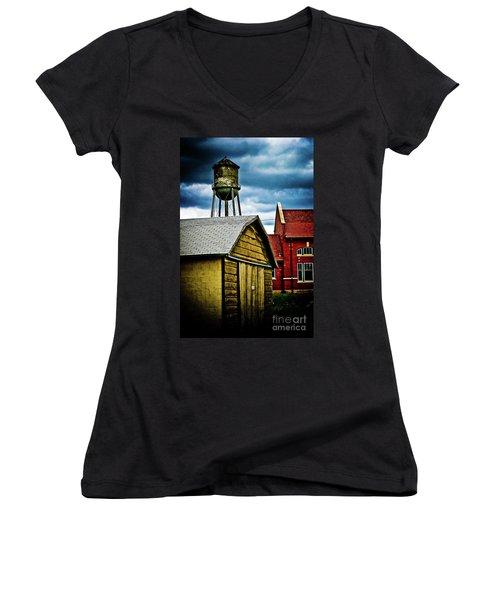 Waurika Old Buildings Women's V-Neck T-Shirt (Junior Cut) by Toni Hopper
