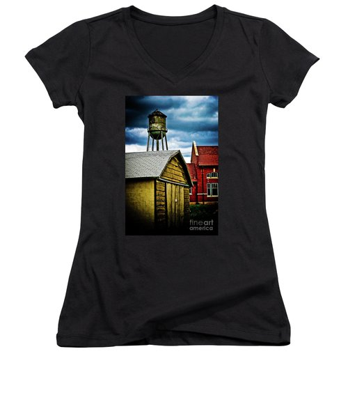 Waurika Old Buildings Women's V-Neck (Athletic Fit)