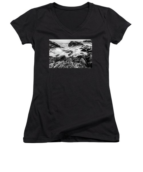 Waves Against A Rocky Shore In Bw Women's V-Neck