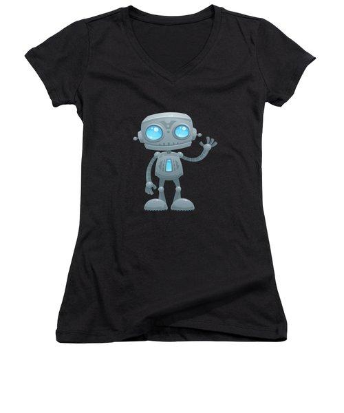 Waving Robot Women's V-Neck (Athletic Fit)