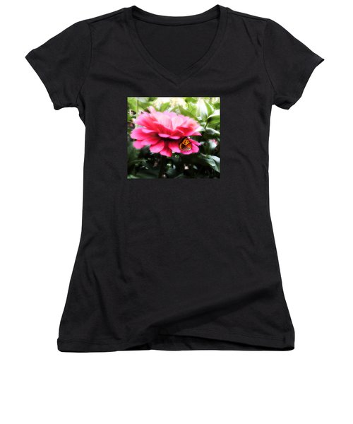 Women's V-Neck T-Shirt (Junior Cut) featuring the mixed media We Belong Together by Gabriella Weninger - David