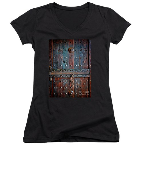Women's V-Neck T-Shirt (Junior Cut) featuring the photograph Weathered by Gina Savage