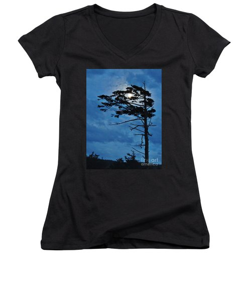 Weathered Moon Tree Women's V-Neck (Athletic Fit)