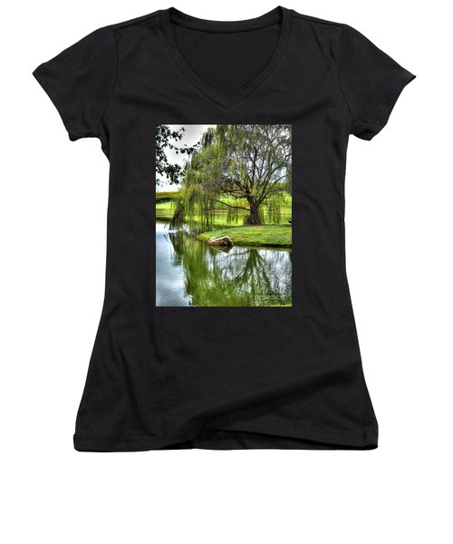 Weep No More Women's V-Neck T-Shirt (Junior Cut) by Christy Ricafrente