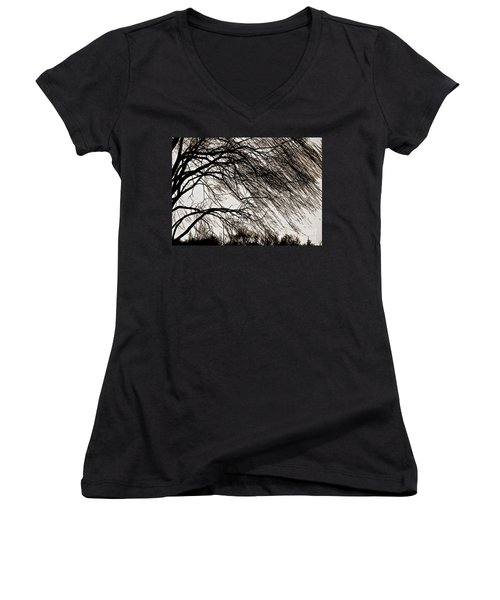 Weeping Willow Tree  Women's V-Neck T-Shirt (Junior Cut) by Carol F Austin