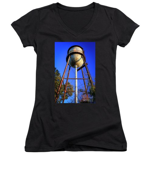 Women's V-Neck T-Shirt (Junior Cut) featuring the photograph Weighty Water Cotton Mill  Water Tower Art by Reid Callaway