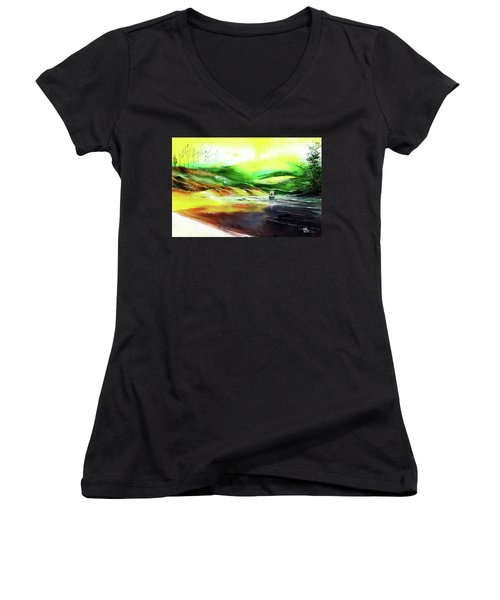 Women's V-Neck T-Shirt (Junior Cut) featuring the painting Welcome Back by Anil Nene