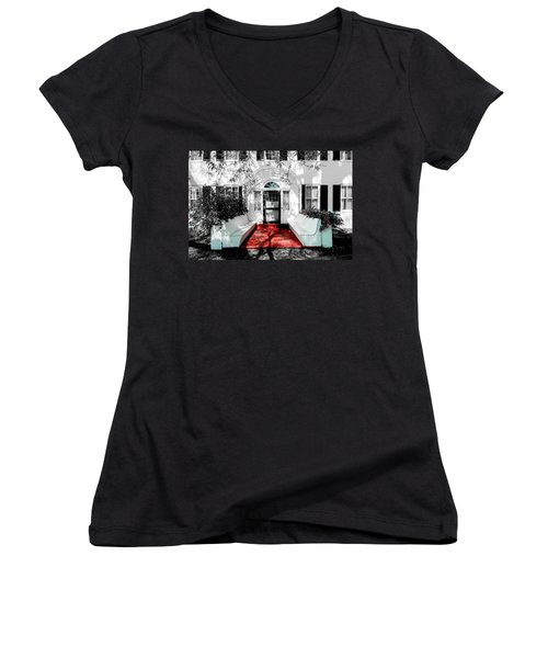 Women's V-Neck T-Shirt (Junior Cut) featuring the photograph Welcome by Greg Fortier