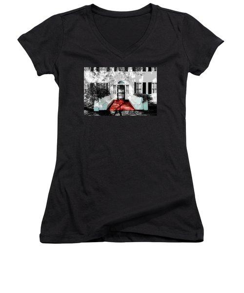 Welcome Women's V-Neck T-Shirt (Junior Cut) by Greg Fortier