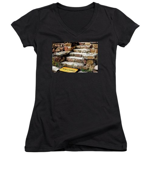Welcome Steps Women's V-Neck T-Shirt (Junior Cut) by Deborah Nakano