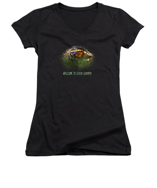 Welcome To Gator Country Design Women's V-Neck (Athletic Fit)