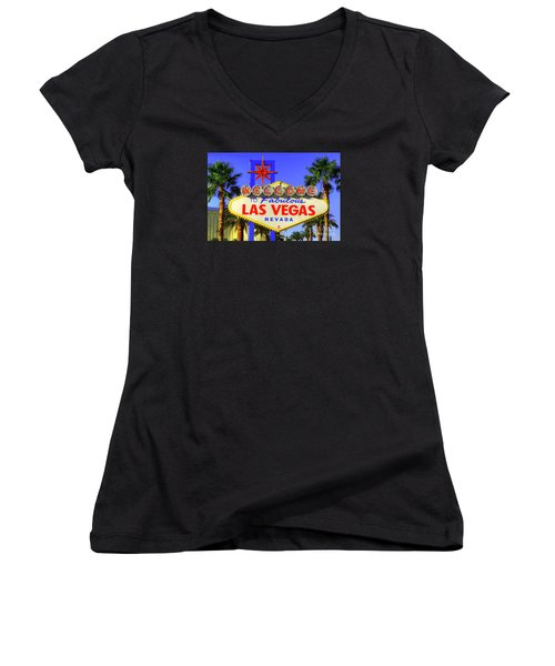 Welcome To Las Vegas Women's V-Neck T-Shirt (Junior Cut) by Anthony Sacco
