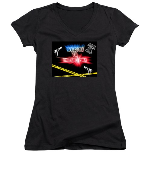 Women's V-Neck T-Shirt (Junior Cut) featuring the photograph Welcome To Philadelphia by Christopher Woods