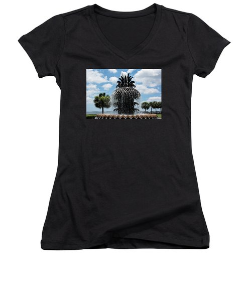Welcome Y'all Women's V-Neck T-Shirt (Junior Cut) by Ed Waldrop