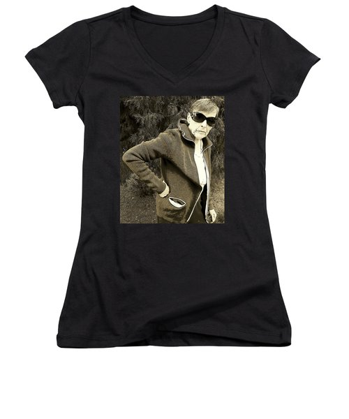 Well Are You Coming Women's V-Neck T-Shirt (Junior Cut) by Lenore Senior