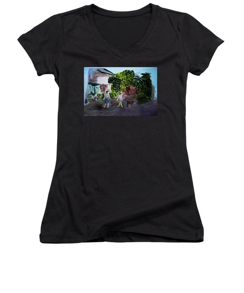 Women's V-Neck T-Shirt (Junior Cut) featuring the painting West End Shopping by Donna Walsh