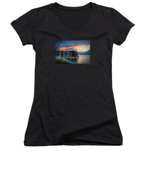 Women's V-Neck T-Shirt (Junior Cut) featuring the photograph West Seattle Living by Dan Mihai