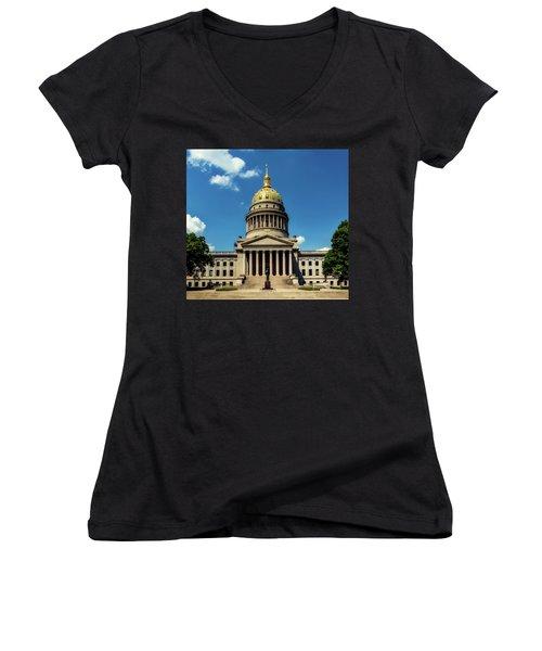 West Virginia Capitol - Charleston Women's V-Neck T-Shirt (Junior Cut) by L O C