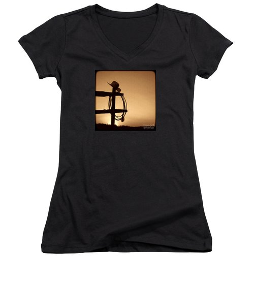Western Sunset Women's V-Neck T-Shirt (Junior Cut) by American West Legend By Olivier Le Queinec