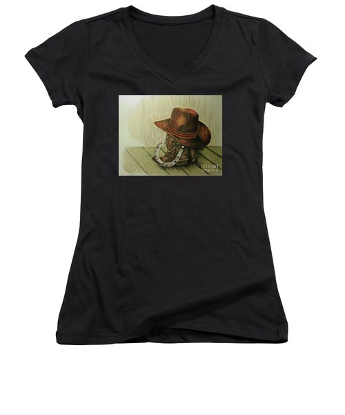 Women's V-Neck T-Shirt (Junior Cut) featuring the drawing Western Wares by Terri Mills