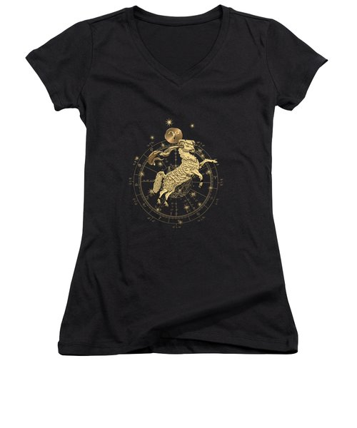 Western Zodiac - Golden Aries -the Ram On Black Canvas Women's V-Neck (Athletic Fit)