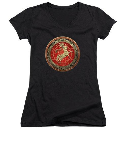 Western Zodiac - Golden Aries -the Ram On Black Velvet Women's V-Neck T-Shirt